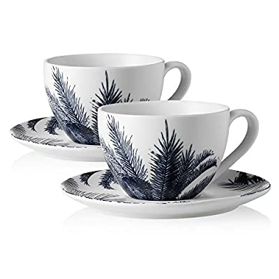 Sweese 425.295 Porcelain Cappuccino Cups with Saucers - 7 Ounce for Specialty Coffee Drinks, Cappuccino, Latte, Americano and Tea - Set of 2, Navy