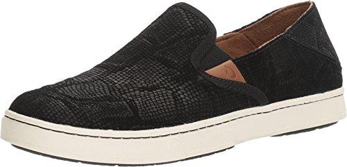 OLUKAI Women's Pehuea Leather Slip On Shoes, Black Honu/Black, 11