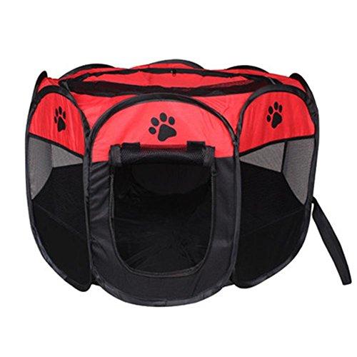 V. Just Funda portátil Plegable Jaula Pet Puppy Dog Cat Conejo Guinea Pig Box de Tela Cortina canile, Red