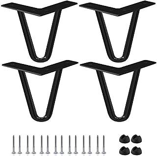 Btowin - Patas de horquilla de 8 4 piezas patas de metal resistentes con protectores de suelo de goma y tornillos para ...