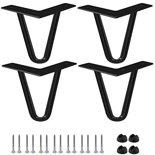 """Btowin - Patas de horquilla de 8"""", 4 piezas, patas de metal resistentes con protectores de suelo de goma y tornillos para el hogar, proyectos de bricolaje, TV, sofá, armario, color negro"""