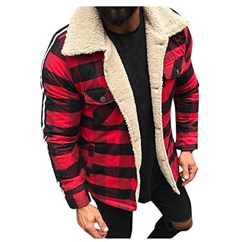 BIKETAFUWY Übergangsjacke Herren Kordjacke Slim Fit Übergangs Teddyfell Jacket mit Reverskragen innen gefüttert Reverskragennjacke Freizeitjacke
