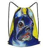 AndrewTop Bolsa Cuerdas con cordón impermeable Unisex,retrato de bulldog francés lindo estado de ánimo impresionista amarillo azul vistoso personalizado,LigeroCasual ,Deporte Gimnasio Mochilas