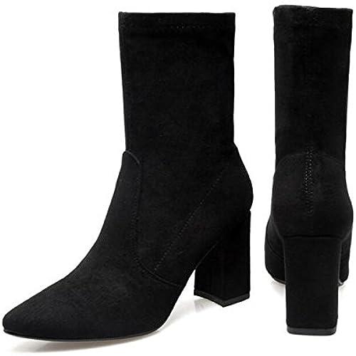 KHSKX-Uno De Los 7.5Cm Grueso schwarz damenes Stiefel Con schuhe De Punta Desnuda Stiefel Stiefel De Tacón Alto De En Barrica La Fina Franja Stiefel Stiefel Hembra 37