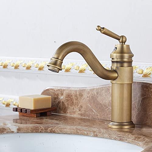 SDKFJ Faucet de Cuenca de Cobre Antiguo, Grifo de baño clásico frío y Caliente, Mezclador de Agua de una Sola manija Cubierta de Grifo montado con Grifo de Estilo clásico (Color : 01Short)
