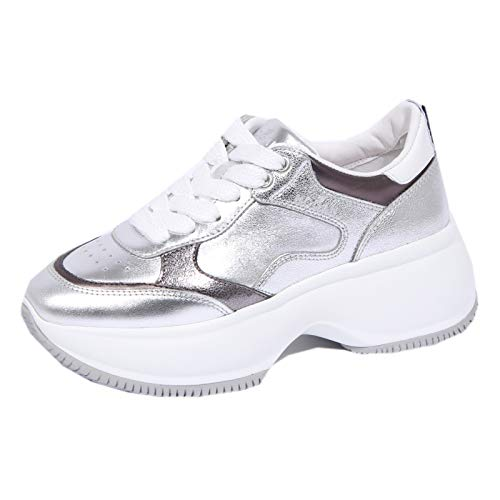 Hogan 1125J Sneaker Donna Silver Maxi Active Metallic Effect Shoe Woman [38]