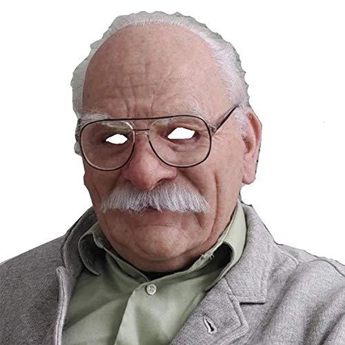 Realistische Kopfbedeckung Dekor Old Man Mask Realistisch Mit Haar Realistisch Volles Gesicht Und Hals Für Maskerade Silikon Halloween Maske Latex Menschliche Falten Masken (mask with Hair)