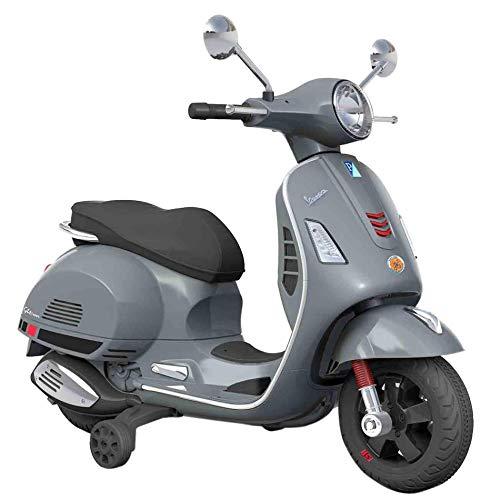 SIP Scootershop Vespa GTS - Moto eléctrica para niños, 12 V, color gris, incluye batería y cargador