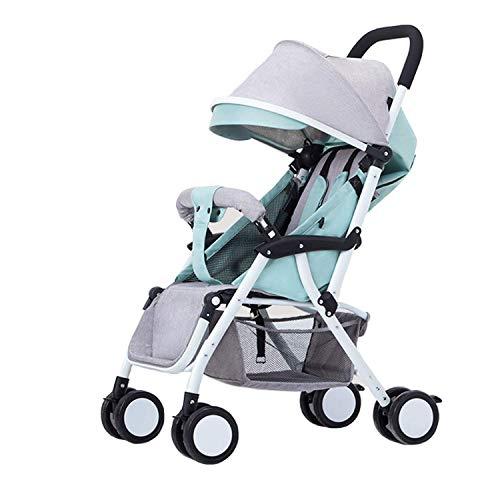 wxqym Carrito de bebé Carro de bebé Sistema de Viaje Ultra-Light Portable Puede Sentarse y acostarse Buggy Green, Gray