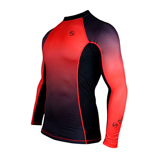 Mens Rash Guard Long Sleeve Surf Shirt Swimsuit - Quick Dry Sun Protection Clothing UPF 50+ (Red, L)