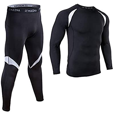Men's Thermal Top and Bottom Set Underwear Long Johns Base Layer with Soft Fleece Lined Black