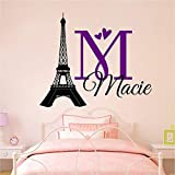 Personalized Custom Paris Eiffel Tower Name Wall Decal Sticker Customized Choose Size Color I Love Hearts
