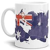Tassendruck Flaggen-Tasse Australien Weiss - Fahne/Länderfarbe/Wasserfarbe/Aquarell/Cup/Tor/Qualität Made in Germany