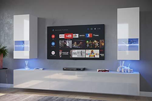 Home Direct Sezana N21 1A Modernes Wohnzimmer Wohnwände Wohnschränke Schrankwand Schwarz Weiß Hochglänzend (AN21-18W-HG2 1A (weiß), LED RGB (16 Farben))