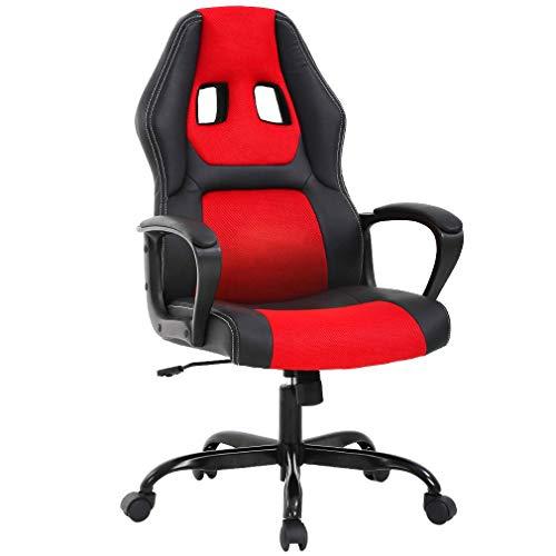 T-LoVendo Silla Gaming Oficina Racing Escritorio Videojuegos Sillon Gamer Despacho, Roja, Rojo/Negro, Universal
