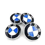 4er-Pack BMW Radkappen Emblem 68mm Felge Leichtmetall Radkappe Mittelnabenkappen Staubkappen Ersatz für alle Modelle mit BMW Rad Logo...