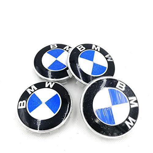 4er-Pack BMW Radkappen Emblem 68mm Felge Leichtmetall Radkappe Mittelnabenkappen Staubkappen Ersatz für alle Modelle mit BMW Rad Logo Blau Weiß Farbe Auto Styling Zubehör Für X1X3X5X6 (68mm)