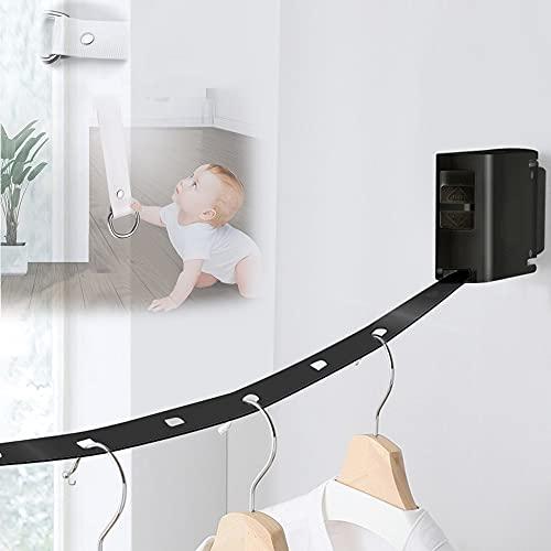 JINGJIN Long Tendedero De Cuerda Retráctil para Tender Secar Ropa En Exteriores 4.2m, Fácil De Usar, Portátil, para Hoteles, Interiores Y Exteriores,Black