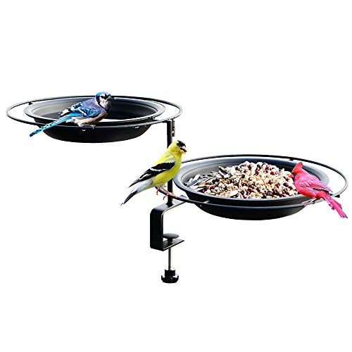 Solution4Patio Expert in Garden Creation #G-B124A00-US Urban Apartment Deck Rail Bird Feeder & Bird Bath, Balcony Platform Removable Metal Tray 8' Dia, Adjustable Clamp Bracket, Not Blowing Away