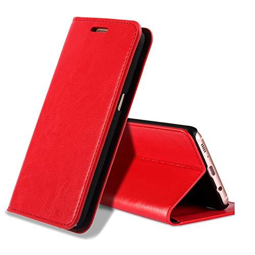 EATCYE Galaxy S9 Handyhülle,Galaxy S9 Hülle, [Echt Leder] Handyhülle Brieftasche flip Lederhülle Schutzhülle [Versteckt Magnet] Hülle für Samsung Galaxy S9 (Rot)