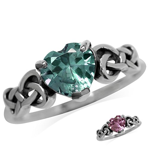 Silvershake Heart Shape Simulated Color Change Alexandrite 925 Sterling Silver Celtic Knot Ring Size 6