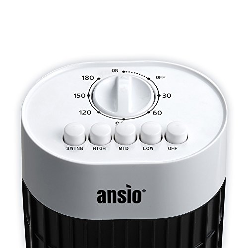 ANSIO Tower Fan 30-inch For Home and Office, 3 Hours Timer, 3 Speed Oscillating Cooling Fan - Black & White