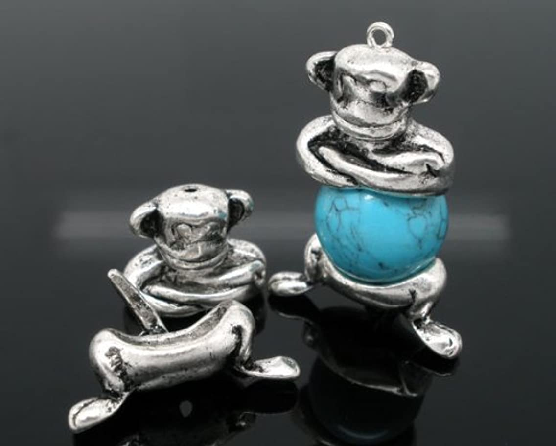 5 Sets Antique Silver Monkey Bead Caps (Fits 12-14mm Beads) Beading Supplies