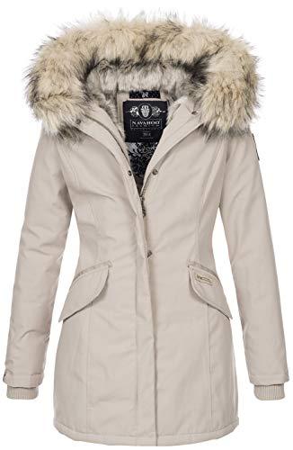 Navahoo Damen Winter Jacke Parka Mantel Winterjacke warm Kunstfell Premium B669 [B669-Christa-Beige-Gr.XL]