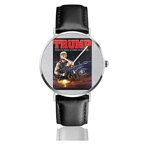 Unisex Business Casual Donald Trump Rambo Muscle Man Uhren Quarz Leder Uhr mit schwarzem Lederband für Männer Frauen Junge Kollektion Geschenk