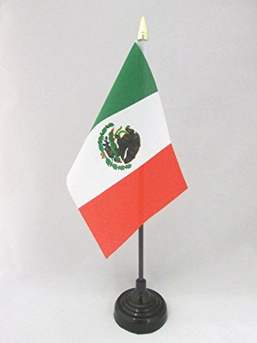 AZ FLAG TISCHFLAGGE MEXIKO 15x10cm goldene splitze - MEXIKANISCHE TISCHFAHNE 10 x 15 cm - flaggen