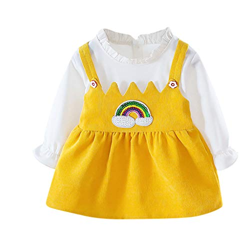 Janly Clearance Sale Vestido de niña para niñas de 0 a 10 años, vestido de princesa de manga larga, color puro, con patrón de arco iris, para niños de 1 a 2 años (amarillo)