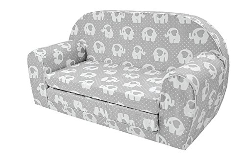 MoMika Sofá para niños Sofá Cama Niños pequeños Plegables 2 en un sofá y Cama de 0 a 4 años (Elefante-Corazones)