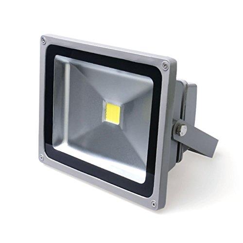 Greenmigo 10W 20W 30W 50W 100W 150W 200W 300W LED Fluter Strahler Gartenlampe Kaltweiß Licht mit Silbergrau Aluminium Gehäuse Wasserdicht IP65 85-265V