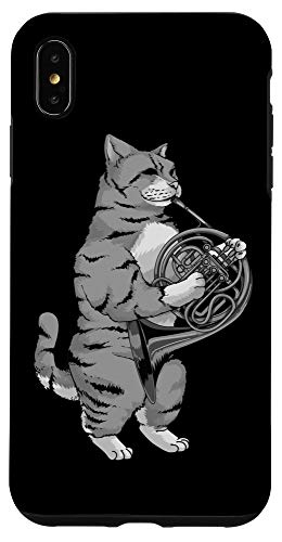 iPhone XS Max Funny Cat Playing French Horn | Cool Animal Musician Gift Case