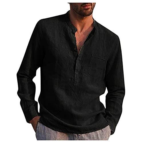 Xmiral Camicetta Camicie Camicie Uomo Casual Colletto alla Coreana Camicia a Maniche Lunghe Tasca in Cotone Top (XL,8nero)