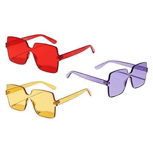 Colcolo Paquete de 3 Gafas de Sol de Moda de Una Pieza Sin Montura Gafas de Sol de Verano para Fiestas