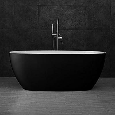 "WOODBRIDGE B-1818 59"" Acrylic Freestanding Bathtub Contemporary Soaking Tub with Brushed Nickel Overflow and Drain BTA1818-B,Black"