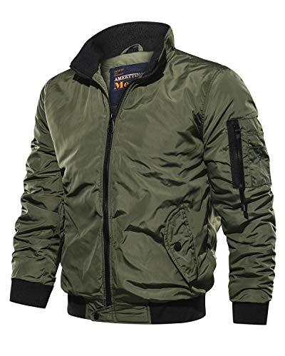 Uusollecy Herren Basic Bomber Jacket Leichte Fliegerjacke Stehkragen Pilotenjacke mit Taschen,A-grün,XL