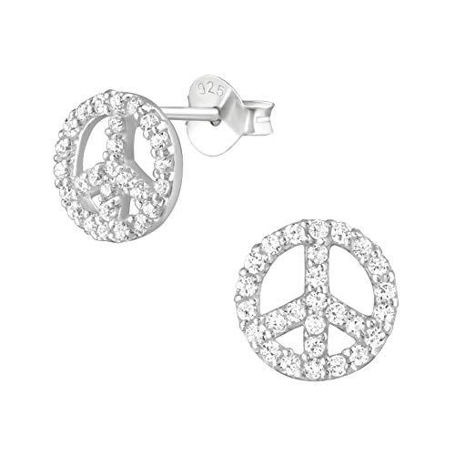 Laimons Damen-Ohrstecker Ohrringe Damenschmuck Peace Frieden 10mm glanz mit Zirkonia (Syntetischer Schmuckstein) Sterling Silber 925