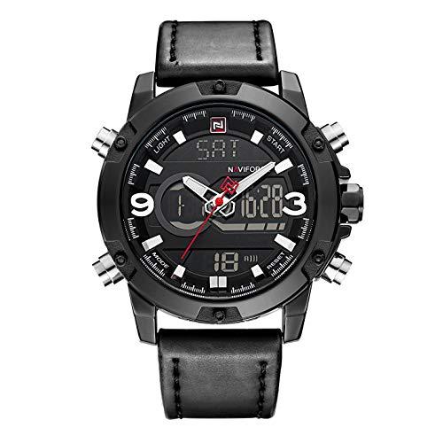 Orologi sportivi analogici digitali da uomo moda orologi Dual Time Display da polso in pelle nera tono militare impermeabile leggero cronografo allarme orologio da polso