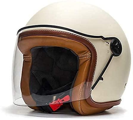 Desconocido Motorcycle Helmet - White Retro Vintage Style Motorbike Helmet - Anti-Scratch Visor - Memory Foam Inside - Baruffaldi Jet Zar - Made in Italy