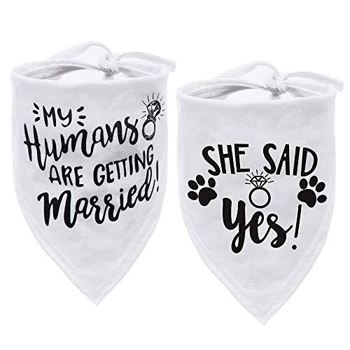 ASOCEA Dreieckstuch für Hunde und Katzen, für Hochzeit, Verlobung, Halstuch, Welpen, Kätzchen, Schal, Zubehör mit My Humans are Getting Married She Said Yes – 2 Stück