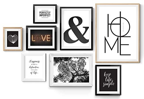 8er Poster Set in verschiedenen Größen! 10x15, 13x18, A4 und A3. Wanddeko von MARELLE. Beste Poster, Wandbild, Spruchbilder, schwarz weiß, Geschenk, Gallery Wall, Komplett Set 2563