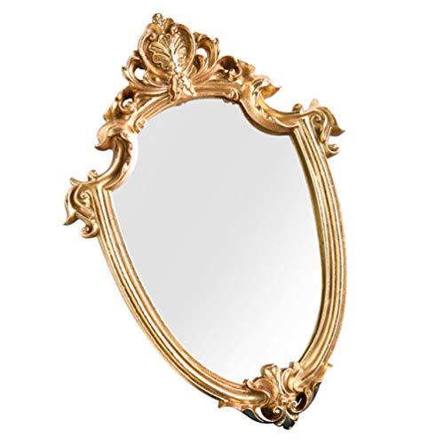 BESPORTBLE Espejo de Pared Decorativo Vintage con Forma de Escudo Dorado Espejos Colgantes para Dormitorio Sala de Estar Tocador Decoración para El Hogar 30X43cm