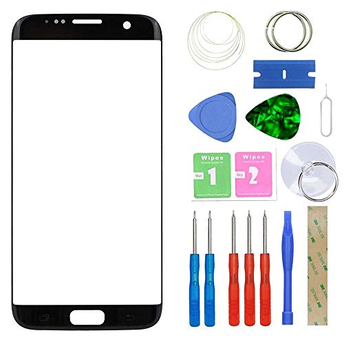 MovTEK Frontglas für Samsung Galaxy S7 Edge G935 Serie Displayglas Ersatz Glas Reparatur Set mit Werkzeug (Schwarz)