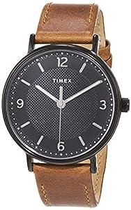 Timex Southview 41 mm Mens Black Case Brown Leather Strap Watch TW2U67400