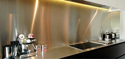 AluCouleur Fond de hotte/Crédence INOX brossé- 9 Tailles - Hauteur 50 cm x (Longueur 90 cm)