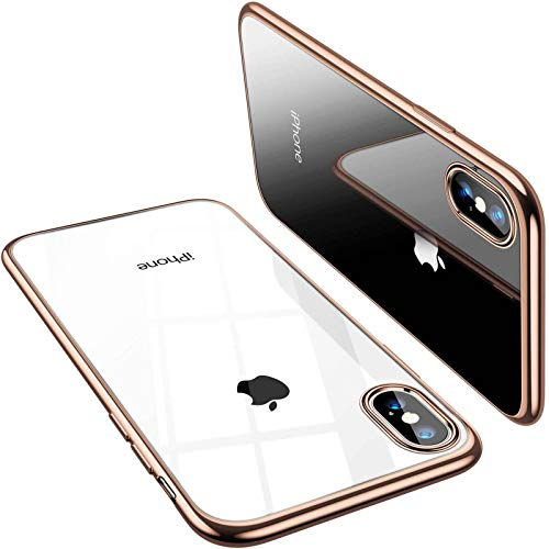TORRAS Crystal Clear Compatible with iPhone Xs Max Case, [Anti-Yellowing] Soft Silicone Shockproof TPU Slim Thin Protective Designed for iPhone Xs Max Case 6.5 inch - Gold