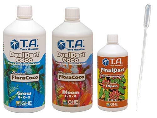 GHE Flora Coco Starter-Pack FloraCoco Grow + Bloom je 1-L + Final Part Ripen 500-ml Duenger-Set für Kokos-Erde Professional Fluessigduenger Fuer optimale Pflanzen Ergebnisse Booster