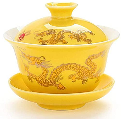 ZJZ Teacup Porcelain Tea Cup and Saucer with Lid, Chinese Traditional Tea Bowl Tea Set Dragon Pattern,Yellow